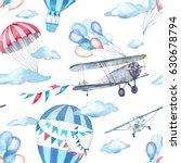 watercolor festive sky seamless ... | Shutterstock . vector #630678794