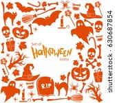 background of halloween icons... | Shutterstock . vector #630687854