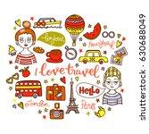 i love travel. boy and girl.... | Shutterstock .eps vector #630688049
