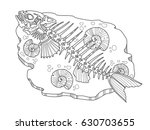 skeleton of fish coloring book... | Shutterstock . vector #630703655