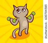 cute cartoon cat with dumbbells ... | Shutterstock .eps vector #630704585