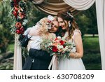 beautiful wedding couple on the ... | Shutterstock . vector #630708209