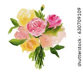 watercolor floral illustration... | Shutterstock . vector #630709109