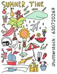 hand drawn stylized summer time ... | Shutterstock . vector #630720269