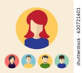 set of male and female faces... | Shutterstock .eps vector #630721601