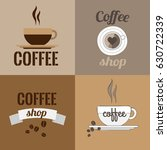 four logos of coffee shops with ... | Shutterstock . vector #630722339