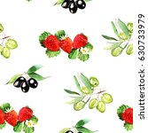 watercolor olive and strawberry ... | Shutterstock . vector #630733979