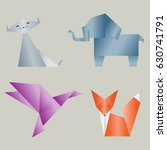set of colored origami animals  ...