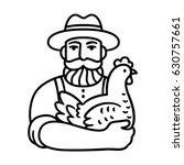 farmer holding chicken logo.... | Shutterstock . vector #630757661