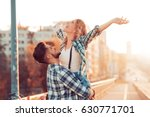 young couple in love outdoor... | Shutterstock . vector #630771701