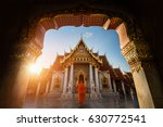 Marble Temple With A Monk In...