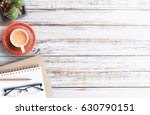 wood office desk table with... | Shutterstock . vector #630790151