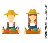 farmers holding rich harvest in ... | Shutterstock .eps vector #630800039