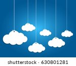 6 paper clouds hanging on blue... | Shutterstock .eps vector #630801281