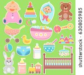 cute baby icons stickers... | Shutterstock .eps vector #630805985