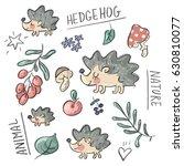 set illustration with hedgehog...   Shutterstock .eps vector #630810077