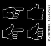 set of 4 linear icons of hands. ... | Shutterstock .eps vector #630814319