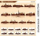city skyline set. asia number 2.... | Shutterstock .eps vector #630817544
