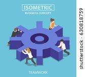 flat 3d isometric business team ... | Shutterstock .eps vector #630818759