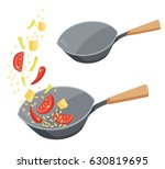 frying pan wok with fried... | Shutterstock .eps vector #630819695