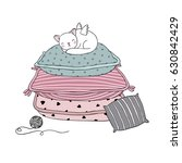 beautiful pillows and  cat on a ... | Shutterstock .eps vector #630842429