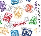 vector set of vintage postage... | Shutterstock .eps vector #630850109