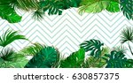 tropical palm leaves set  drawn ... | Shutterstock .eps vector #630857375