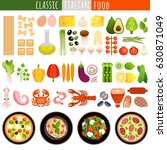 set of italian dishes and... | Shutterstock .eps vector #630871049