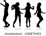 dancing people silhouettes. | Shutterstock .eps vector #630879401