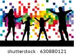 dancing family silhouettes. | Shutterstock .eps vector #630880121