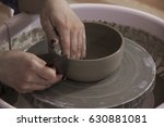 Hands Of Making Clay Pot On Th...