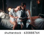 love couple reading a book in... | Shutterstock . vector #630888764