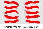 pack of red ribbons on white... | Shutterstock .eps vector #630907454