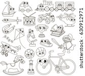 big boy toy set to be colored ... | Shutterstock .eps vector #630912971