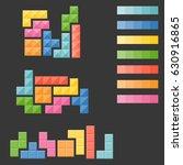 tetris pieces  puzzle in varie... | Shutterstock .eps vector #630916865