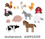 set of isolated farm animals in ... | Shutterstock .eps vector #630923339