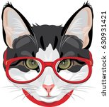 Stock vector portrait of a funny cat with red glasses vector 630931421