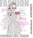 hand drawn beautiful cute... | Shutterstock .eps vector #630936029