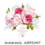 Stock vector vector floral composition with garden roses and tulip flowers on white background romantic design 630951947