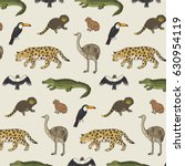 animals of south america vector ... | Shutterstock .eps vector #630954119