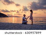 romantic marriage proposal on... | Shutterstock . vector #630957899