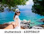 beauty young woman in white... | Shutterstock . vector #630958619