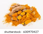 turmeric roots isolated on... | Shutterstock . vector #630970427
