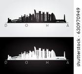 Stock vector doha skyline and landmarks silhouette black and white design vector illustration 630970949