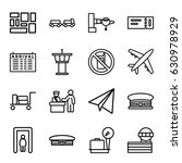 airport icons set. set of 16...