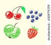 set of hand drawn wax crayon... | Shutterstock .eps vector #630979259