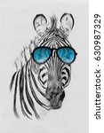 portrait of zebra drawn by hand ... | Shutterstock . vector #630987329