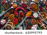 spices and herbs in metal bowls.... | Shutterstock . vector #630995795