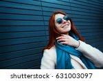hipster redhaired girl in... | Shutterstock . vector #631003097