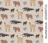 animals of south america vector ... | Shutterstock .eps vector #631004711